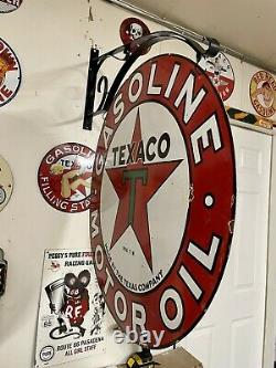 Porcelain Texaco Texas Company With Mounting Bracket Sign 30 double side 2 Sided