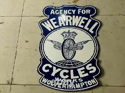 Porcelain WEARWELL CYCLES Enamel SIGN SIZE 22 X 19.5 INCHES DOUBLE SIDED