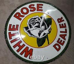 Porcelain WHITE ROSE DEALER Enamel Sign 42 Inches Round double sided