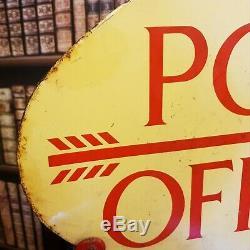 Post Office double sided enamel sign advertising mancave garage decor metal vint