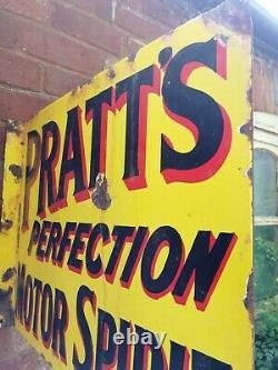 Pratts enamel sign Double Sided flanged wall sign Pratts Motor Spirit garage