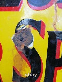 Pratts enamel sign Double Sided flanged wall sign Pratts Motor Spirit garage #1