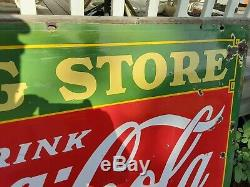 RARE Double Sided COCA COLA DRUG STORE Porcelain Sign 60 L X 42 T 1934 USA