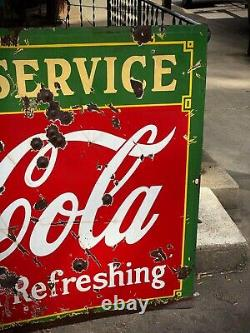 RARE Double Sided COCA COLA Fountain Service Porcelain Sign 60X42 1930s USA
