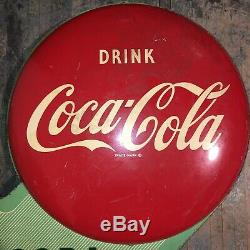 RARE Double Sided Metal COCA-COLA Button Soda Hanging Flange Sign Dated 1950