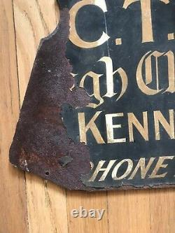 RARE Early 20th Century BUTCHER Hand Painted Double Sided English Original Sign