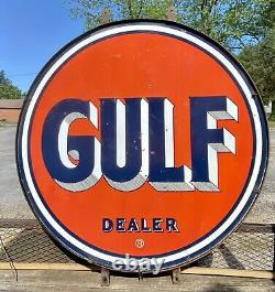 RARE Gulf Dealer Double Sided Porcelain 66 Sign With Original Ring & Gasket