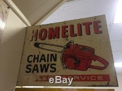 RARE Homelite Chainsaw Double Sided Metal Flange Sign Hardware Tools