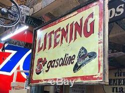 RARE ORIGINAL LITENING GASOLINE Vintage Double Sided Sign WESTERN Cowboy Gas Oil