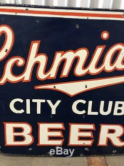 RARE Schmidts City Club DOUBLE SIDED Porcelain Advertising Beer Sign! Wow