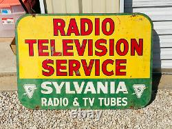 RARE Sylvania Radio Television Tubes Service Double Sided Advertising SIgn 40x30