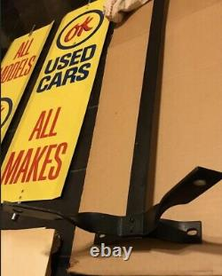 RARE VINTAGE TIN DOUBLE SIDED OK USED CARS SPINNER SIGN WithBRACKET, HARDWARE & BOX