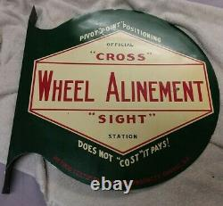 RARE Vintage Cross Sight WILCO Wheel Alignment double Sided Sign