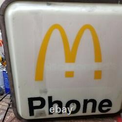 RARE Vintage Ronald McDonalds Phone Booth Sign Flange double side lighted