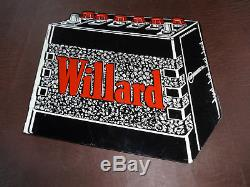 RARE WILLARD BATTERIES DOUBLE SIDED FLANGE GAS STATION SIGN 1950s NOT PORCELAIN