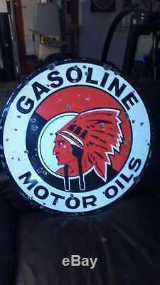 RED INDIAN GASOLINE, MOTOR OIL SIGN ORIGINAL ANTIQUE double-sided porcelain 30