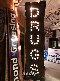 RaRe 19th Century ORIGINAL Early DRUGS SIGN Backlit GLASS JEWELS Double Sided