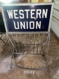 Rare! 1930-1940 Western Union Porcelain Double Sided Sign Bike rack