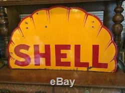 Rare. 1930s Shell Gasoline Clam Shell Double Sided Porcelain Sign 48 Inch