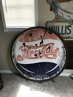 Rare Antique Pepsi Cola Double Dot Porcelain sign double sided 42 inch