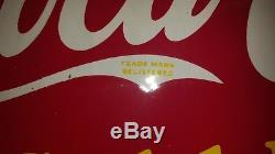 Rare Flange coca cola coke 1930's sign double sided original REFRESH YOURSELF