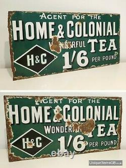 Rare Home & Colonial Tea Double Sided Enamel Sign Advertising