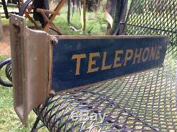 Rare Old British English Telephone Metal Sign Double Sided. Just Out Of Attic