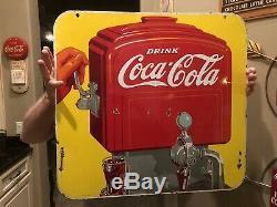 Rare Original 1939 Porcelain DOUBLE SIDED Coca Cola Soda Fountain Dispenser Sign
