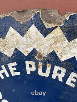Rare Original Tiolene Motor Oil Porcelain Sign Pure Oil Advertising Double Sided