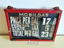 Rare Teens Teens-Early 1920's Double-Side Visible Gas Pump Mobilgas Price Sign
