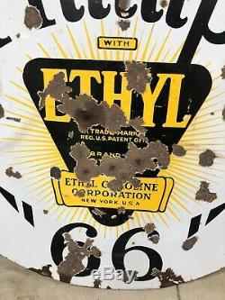 Rare Vintage ORIGINAL Phillips 66 Ethyl Porcelain Sign 30 Double Sided Gas Oil