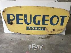 Rare Vintage Peugeot Agent Double-Sided Porcelain Sign