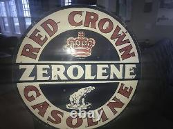 Red Crown Gasoline Double Sided Porcelain Sign