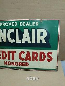 SINCLAIR CREDIT CARD DOUBLE SIDED PAINTED SIGN ON THICK METAL Rare Find