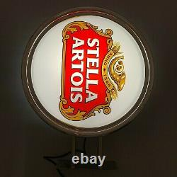 STELLA ARTOIS Wall Light Sign White Double Sided Pub Bar Beer Draft Man Cave Dad