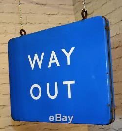 Scottish double sided Way Out british railway enamel sign rail train metal vinta
