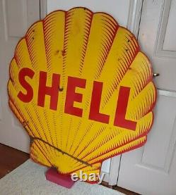 Shell Oil Porcelain Sign 48 Inch Tiger Stripe- Double sided