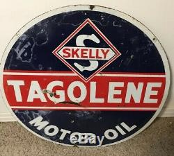 Skelly Gas Tagolene Motor Oil Porcelain Advertising Sign Double Sided 30 RARE