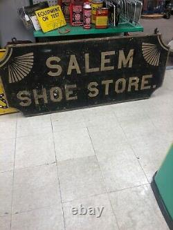 Smaltz Wooden Salem Shoe Store Hand Forged Hardware 5-1/2X 2 Double Sided Sign