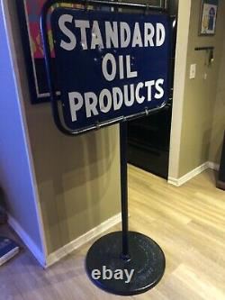 Standard Motor Oil Company Gas Station Curb Sign Double Sided Porcelain Antique