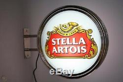Stella Artois Beer Pub Double Sided Bar Wall Sign Light RARE