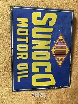 Sun Oils Sunoco Motor oil flange double sided enamel Sign Advertising