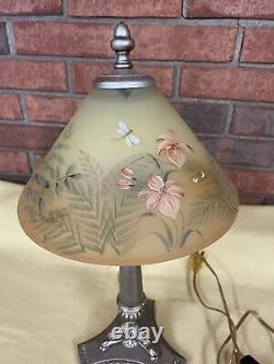 Superb Fenton Dual Sided Hand Painted Glass Shade Butterfly Lamp Signed