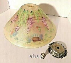 Superb Fenton Dual Sided Hand Painted Glass Shade Hummingbird Lamp Signed NWT