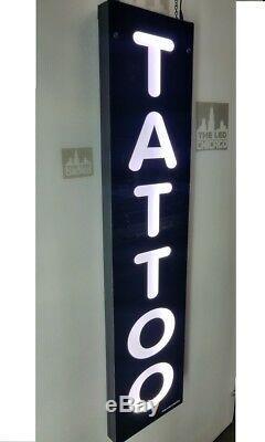 TATTOO Sign, Led light box sign, White color 12''x48x2'