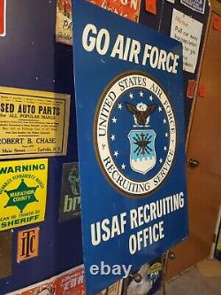 US Air Force USAF Recruiting Office Stout Sign Vietnam Era Double Sided 60s