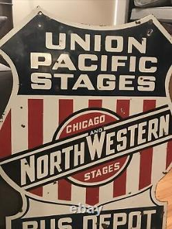 Union Pacific Bus Depot Double Sided Porcelain Sign
