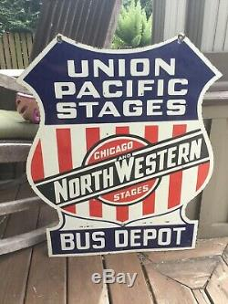 Union Pacific Chicago Stages Double Sided Porcelain Sign