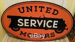 United Service Motors Double Sided Old Vintage Porcelain Sign 48 X 28.5 Inches