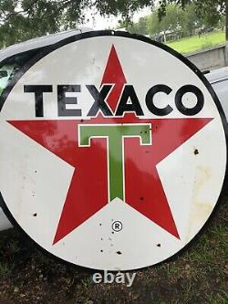 VERY CLEAN Original 1964 Texaco Double Sided Porcelain Advertising Sign 6 FT D